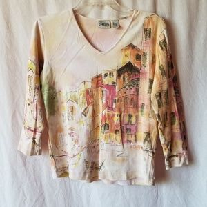 Chico's 3/4 sleeve house print top size 0/small